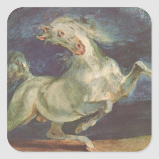 Horse Frightened by a Storm by Eugene Delacroix Square Sticker