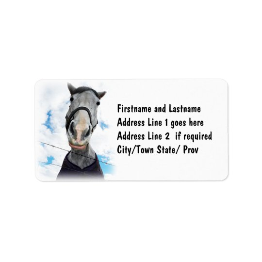 Horse Getting Lippy -  Funny Face Label