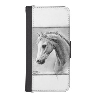 Horse head charcoal art Phone wallet case
