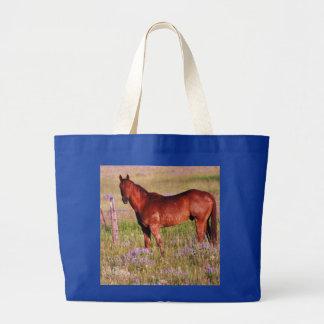 horse in pasture large tote bag
