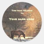 Horse in Winter Bookplate Round Sticker