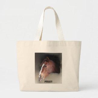 Horse Makes Raspberry Large Tote Bag