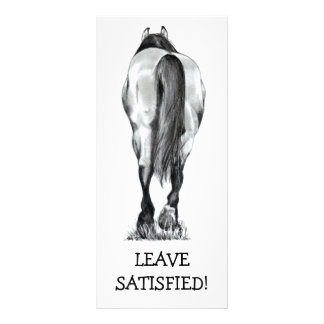 HORSE REAR: LEAVE SATISFIED: BUSINESS RACK CARD