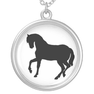 Horse Silhouette Sterling Silver Necklace