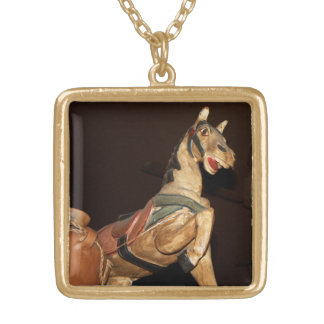 Horse Statue and Decor at Mexican Restaurant Gold Plated Necklace