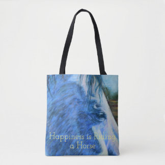 Horse Study in Blue Tote Bag