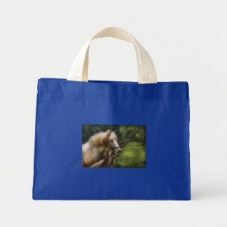Horse - White Stallion Tote Bags
