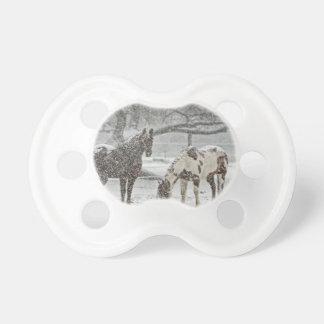 horse winter snow farm ranch animals snowy frozen BooginHead pacifier