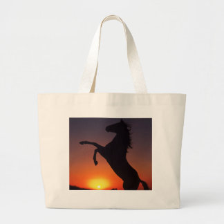 Horse with sunset large tote bag
