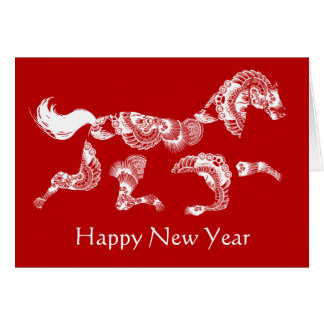 Horse Zodiac Red Chinese New Year Card
