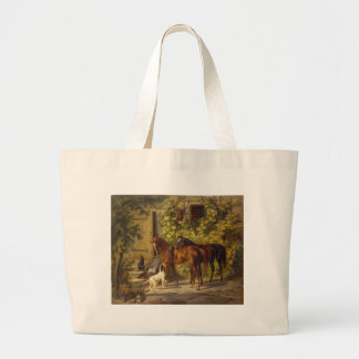 Horses at the Porch Large Tote Bag