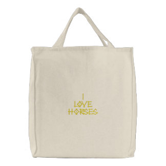 HORSES EMBROIDERED TOTE BAG