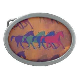horses farm running oval belt buckles