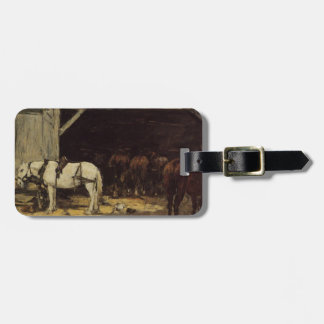 Horses for Hire in a Yard by Eugene Boudin Luggage Tag