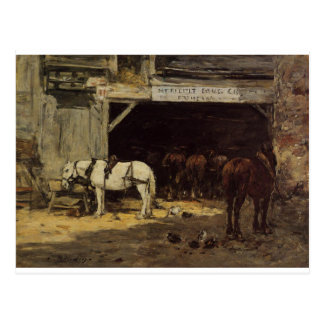Horses for Hire in a Yard by Eugene Boudin Postcard