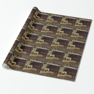 Horses for Hire in a Yard by Eugene Boudin Wrapping Paper