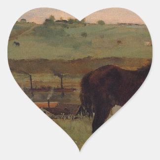 Horses in a Meadow by Edgar Degas Heart Sticker
