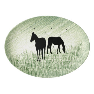 Horses in Field Porcelain Serving Platter