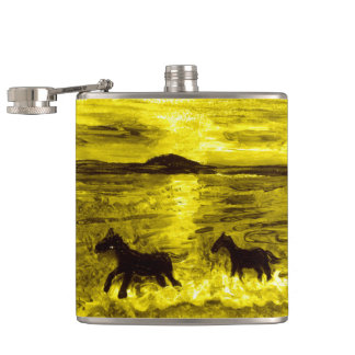 Horses on a Golden Seashore Hip Flask