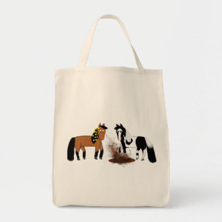 Horses playing in the mud tote bag