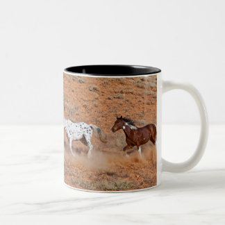Horses roaming the Big Horn MT of Shell Wyoming. 2 Two-Tone Coffee Mug