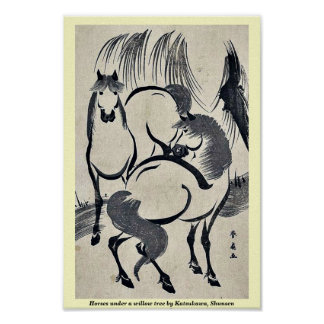 Horses under a willow tree by Katsukawa, Shunsen Poster