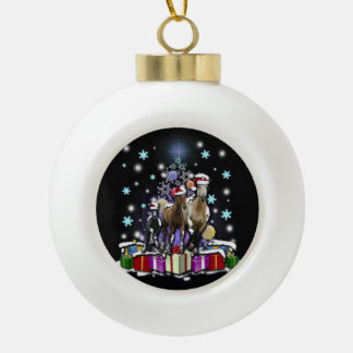 Horses with Christmas Styles Ceramic Ball Christmas Ornament