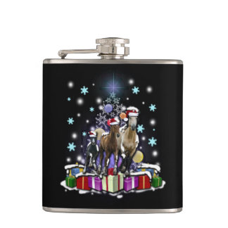 Horses with Christmas Styles Hip Flask