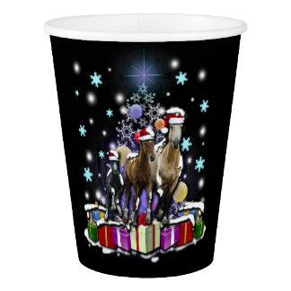 Horses with Christmas Styles Paper Cup
