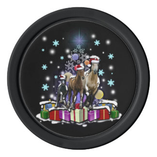 Horses with Christmas Styles Poker Chips