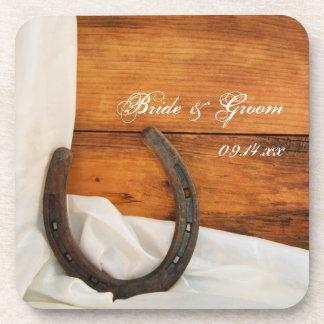 Horseshoe and Satin Country Barn Wedding Drink Coasters