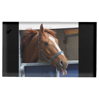 Horsing around - cheeky chestnut horse. table card holders