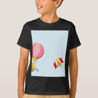 Hot air balloon on pastel blue background. T-Shirt