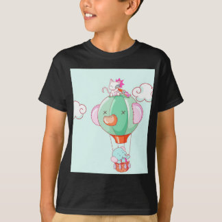 Hot air balloon on pastel green background. T-Shirt
