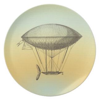 Hot Air Balloon Retro Boat Melamine Plate