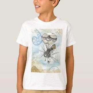 Hot Air Balloon Vintage Steampunk blue design T-Shirt
