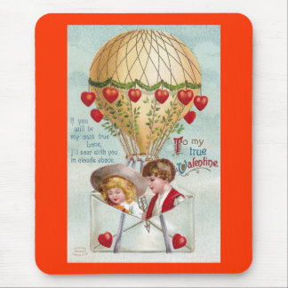 Hot Air Balloon Vintage Valentine Mouse Pad