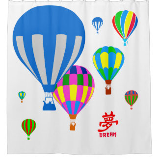 Hot Air Balloons in the sky - Dream - on white Shower Curtain