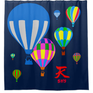 Hot Air Balloons in the sky - Sky - on blue Shower Curtain