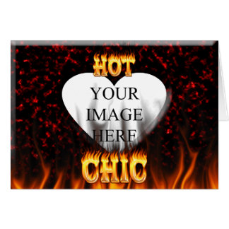 Hot Chic fire and red marble heart. Card
