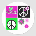 Hot Colours Peace T-shirts and Gifts Round Stickers