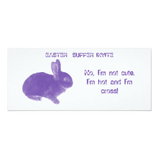 Hot Cross Bunny for Easter 4x9.25 Paper Invitation Card