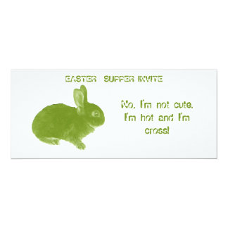 "Hot Cross Bunny for Easter 4"" X 9.25"" Invitation Card"