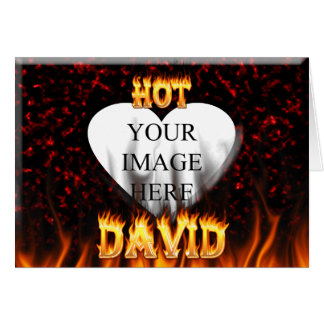 Hot David fire and flames red marble. Card