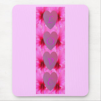 Hot Hibiscus Love Mouse Pad