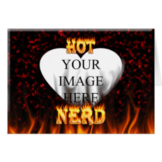 Hot Nerd fire and flames red marble Card