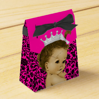 Hot Pink African American Baby Girl Shower Wedding Favour Boxes