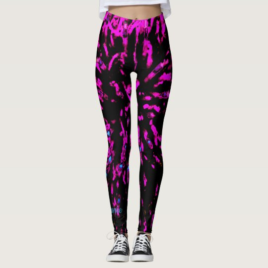 Hot Pink and Black Abstract, Personalised Name Leggings