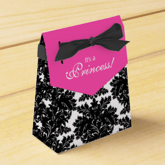 Hot Pink and Black Damask Baby Shower Favour Box
