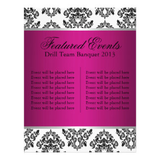 Hot Pink and Black Damask Events Card 21.5 Cm X 28 Cm Flyer